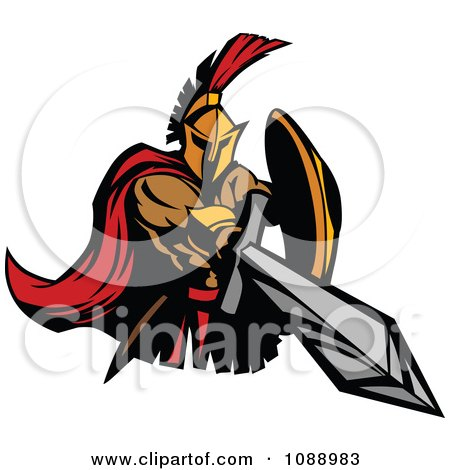Clipart Spartan Roman Warrior Stabbing With A Sword - Royalty Free Vector Illustration by Chromaco