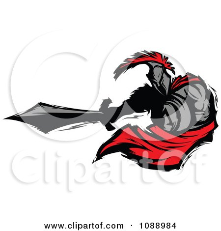 Clipart Spartan Roman Warrior Lunging With A Sword - Royalty Free Vector Illustration by Chromaco