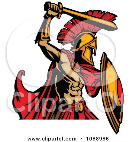 Clipart Spartan Roman Warrior Attacking With A Sword - Royalty Free Vector Illustration by Chromaco