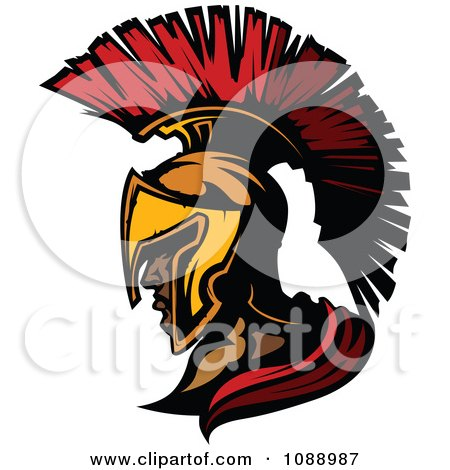 Clipart Spartan Roman Soldier Head And Helmet - Royalty Free Vector Illustration by Chromaco
