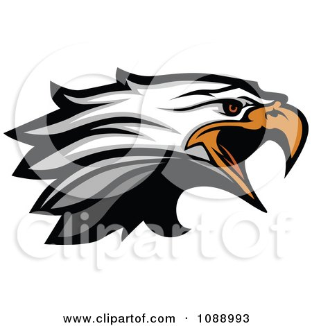 Clipart Attacking Bald Eagle Mascot Head - Royalty Free Vector Illustration by Chromaco