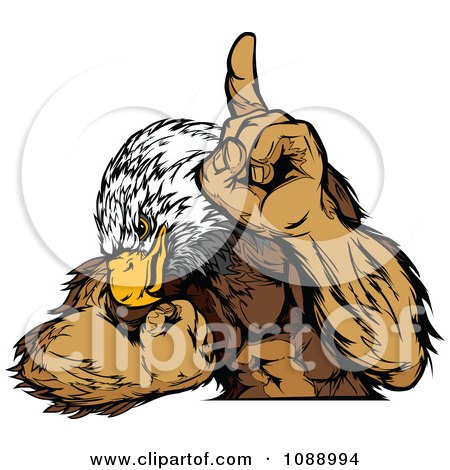 Clipart Strong Bald Eagle Champion Flexing - Royalty Free Vector Illustration by Chromaco