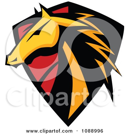 Clipart Horse Head Badge Shield - Royalty Free Vector Illustration by Chromaco