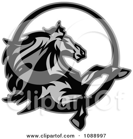 Clipart Grayscale Rearing Horse Mascot - Royalty Free Vector Illustration by Chromaco