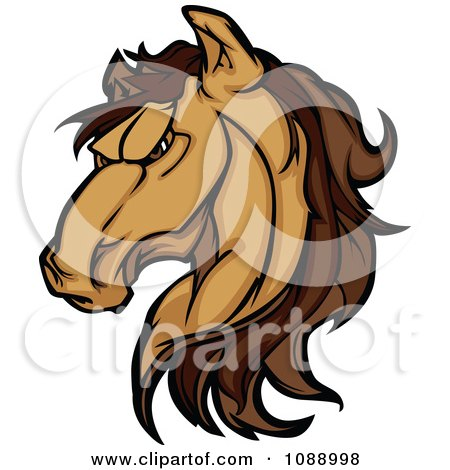 Clipart Strong Mustang Horse Head Mascot - Royalty Free Vector Illustration by Chromaco