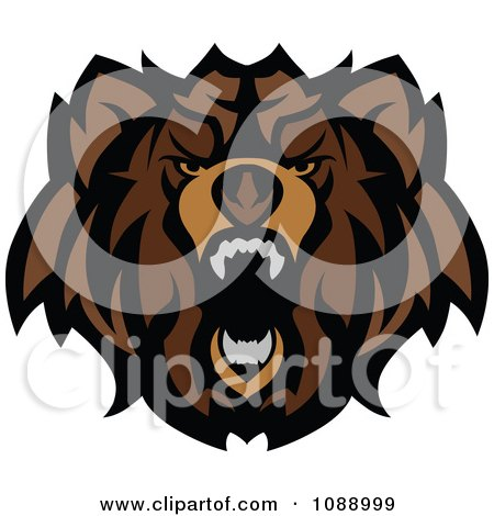 Clipart Roaring Brown Bear Mascot - Royalty Free Vector Illustration by Chromaco