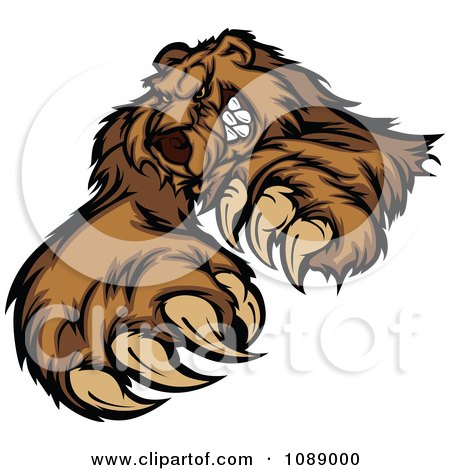 Clipart Clawing Brown Bear Mascot - Royalty Free Vector Illustration by Chromaco