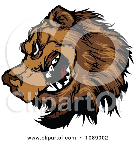 Clipart Brown Bear Mascot In Profile - Royalty Free Vector Illustration by Chromaco