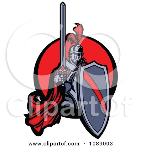 Clipart Knight Holding A Shield And Sword Over A Red Circle - Royalty Free Vector Illustration by Chromaco