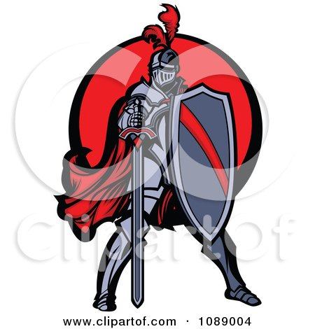 Clipart Knight Standing With A Shield And Sword Over A Red Circle - Royalty Free Vector Illustration by Chromaco