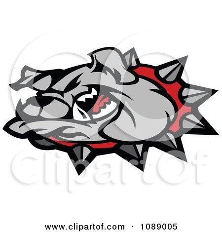 Clipart Mean Gray Bulldog Mascot Head - Royalty Free Vector Illustration by Chromaco
