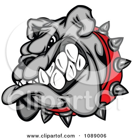 Clipart Aggressive Gray Bulldog Mascot Head - Royalty Free Vector Illustration by Chromaco