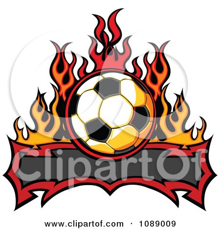 Clipart Tribal Banner With A Soccer Ball And Flames - Royalty Free Vector Illustration by Chromaco