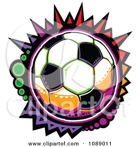 Clipart Colorful Mosaic Soccer Ball - Royalty Free Vector Illustration by Chromaco