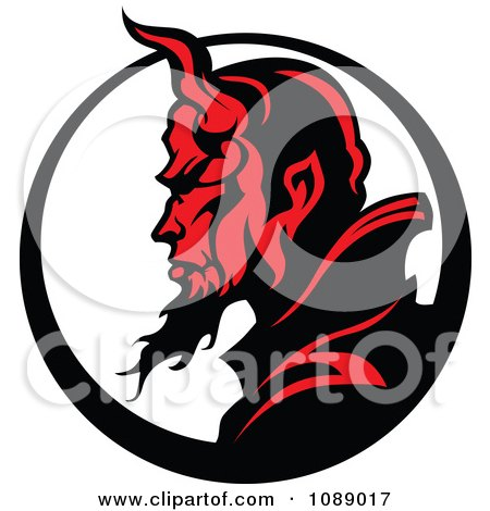 Clipart Profilked Devil Face Mascot And Circle - Royalty Free Vector Illustration by Chromaco