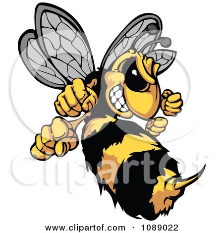 Clipart Stinging Hornet Mascot - Royalty Free Vector Illustration by Chromaco