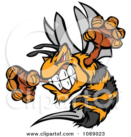 Clipart Stinging Bee Mascot - Royalty Free Vector Illustration by Chromaco