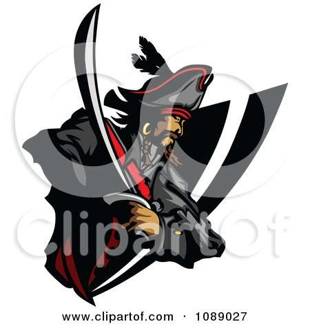 Clipart Pirate And Sword Badge - Royalty Free Vector Illustration by Chromaco