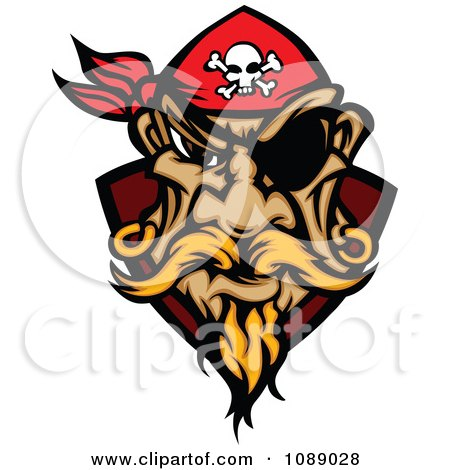Clipart Pirate Face With A Bandana And Eye Patch - Royalty Free Vector Illustration by Chromaco