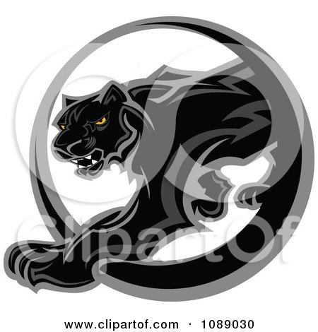 Clipart Black Panther Mascot Walking Through A Circle - Royalty Free Vector Illustration by Chromaco