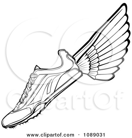 Clipart Black And White Winged Track Shoe - Royalty Free Vector Illustration by Chromaco