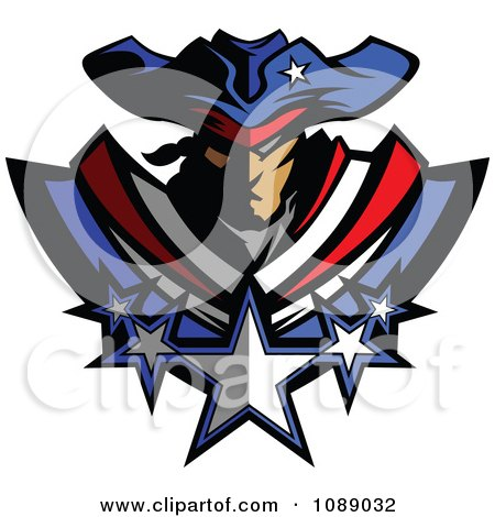 Battle Patriot Mascot With Stars Posters, Art Prints