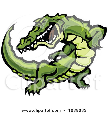 Clipart Attacking Alligator Mascot - Royalty Free Vector Illustration by Chromaco