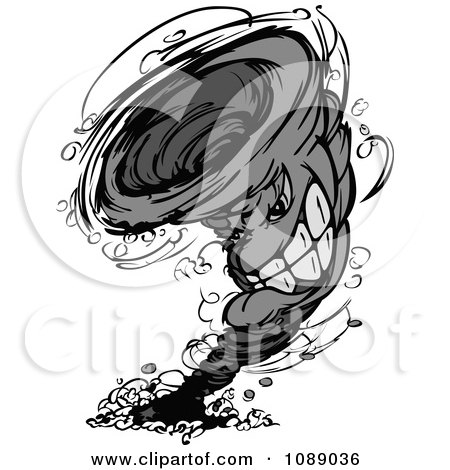 Clipart Grayscale Twister Tornado Mascot - Royalty Free Vector Illustration by Chromaco