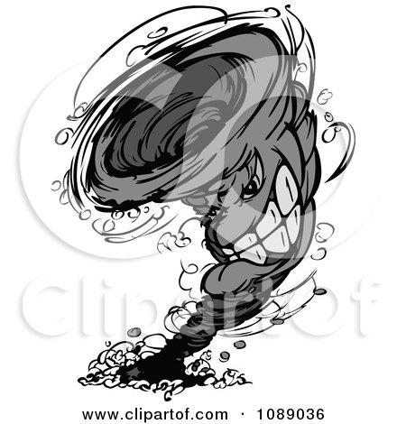 Grayscale Twister Tornado Mascot Posters, Art Prints
