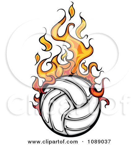 Clipart Fiery Volleyball - Royalty Free Vector Illustration by Chromaco