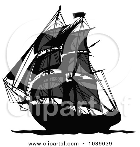 Clipart Dark Mysterious Pirate Ship - Royalty Free Vector Illustration by Chromaco