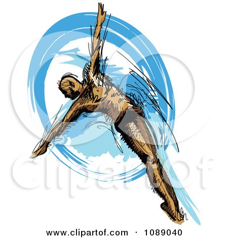 Clipart Grayscale Sketched Male Swimmer - Royalty Free Vector ...