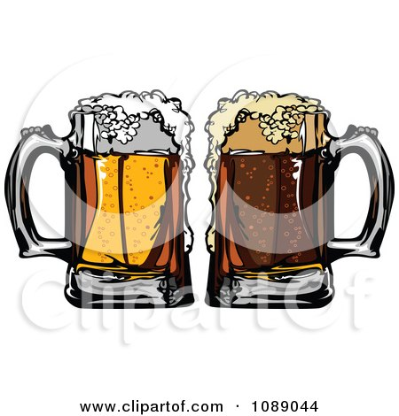 Clipart Frothy Mugs Of Beer And Cola Soda - Royalty Free Vector Illustration by Chromaco