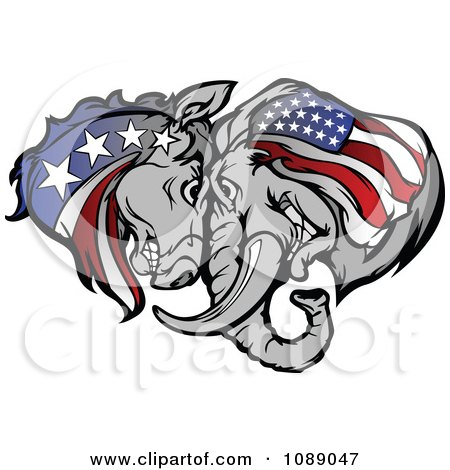 Clipart Republican And Democratic Donkey And Elephant Butting Heads - Royalty Free Vector Illustration by Chromaco