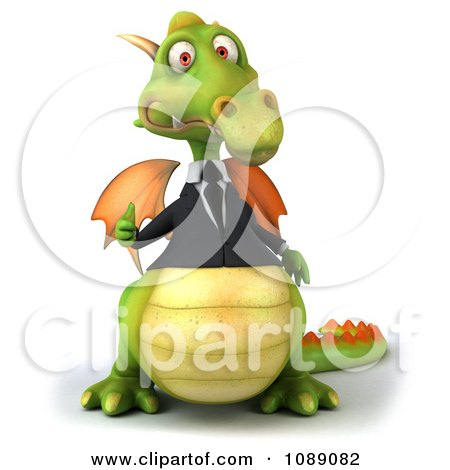 Clipart 3d Green Business Dragon Holding A Thumb Up 1 - Royalty Free CGI Illustration by Julos