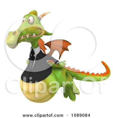 Clipart 3d Green Business Dragon Flying - Royalty Free CGI Illustration by Julos