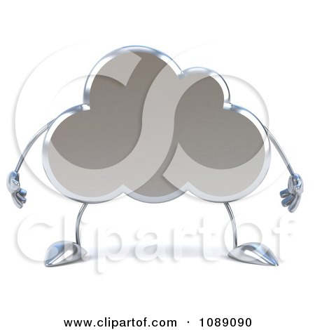 Clipart 3d Silver Cloud Character - Royalty Free CGI ...