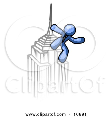 Blue Man Climbing to the Top of a Skyscraper Tower Like King Kong, Success, Achievement Clipart Illustration by Leo Blanchette