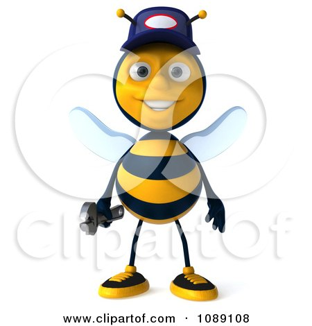 Clipart 3d Mechanic Bee - Royalty Free CGI Illustration by Julos