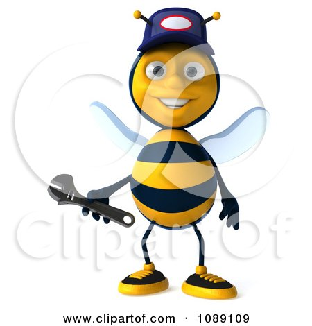 Clipart 3d Mechanic Bee Holding A Wrench 3 - Royalty Free CGI Illustration by Julos