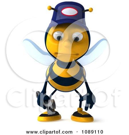 Clipart 3d Sad Mechanic Bee - Royalty Free CGI Illustration by Julos