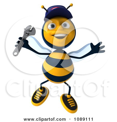 Clipart 3d Jumping Mechanic Bee - Royalty Free CGI Illustration by Julos