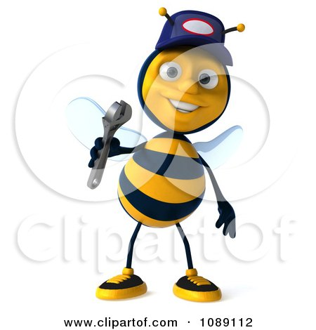 Clipart 3d Mechanic Bee Holding A Wrench 1 - Royalty Free CGI Illustration by Julos