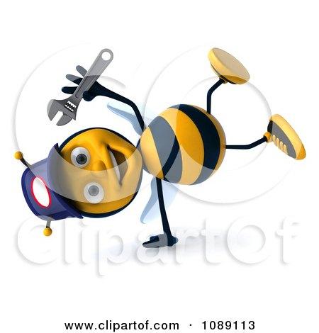 Clipart 3d Cartwheeling Mechanic Bee - Royalty Free CGI Illustration by Julos