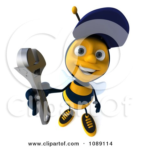 Clipart 3d Mechanic Bee Holding A Wrench 2 - Royalty Free CGI Illustration by Julos