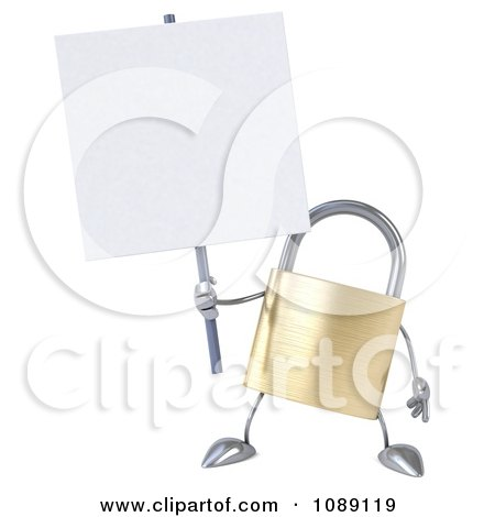 Clipart 3d Golden Padlock With A Sign 5 - Royalty Free CGI Illustration by Julos