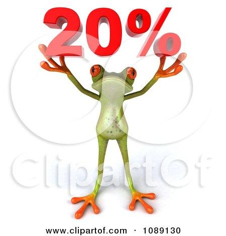 3d Green Springer Frog Holding Up 20 Percent Posters, Art Prints