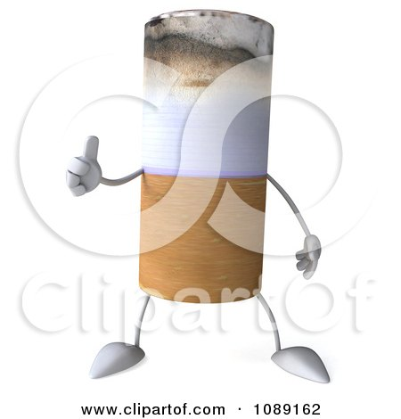 Clipart 3d Thumb Up Tobacco Cigarette Character - Royalty Free CGI Illustration by Julos