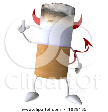 Clipart 3d Devil Tobacco Cigarette Character With An Idea - Royalty Free CGI Illustration by Julos