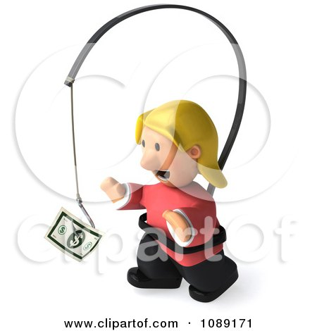 Clipart 3d Toon Woman Chasing Cash On A Stick 3 - Royalty Free CGI Illustration by Julos